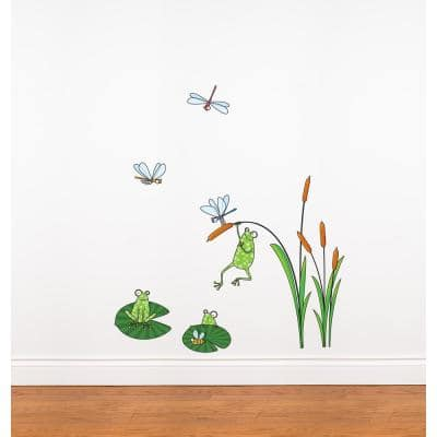 """(41 in x 35 in) Multi-Color """"Frogs"""" Kids Wall Decal"""