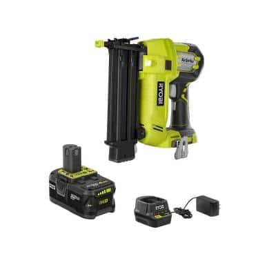ONE+ 18V Cordless AirStrike 18-Gauge Brad Nailer with Sample Nails, (1) 4.0 Ah Battery and Charger