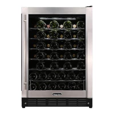 23.4 in. W 50-Bottle Wine Cooler in Stainless Steel