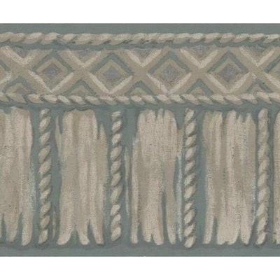 Falkirk Brin Tribal Rope Grey, White Wallpaper Border