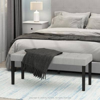 Laval 18 in. Glacier (43.70 in. x 16.14 in.) Polyester Button Tufted Ottoman Bench