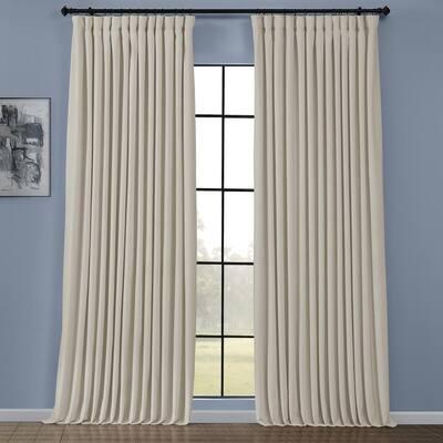 Au Lait Creme Velvet Rod Pocket Room Darkening Curtain - 100 in. W x 108 in. L