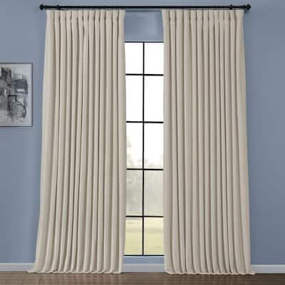 Au Lait Creme Velvet Rod Pocket Room Darkening Curtain - 100 in. W x 84 in. L