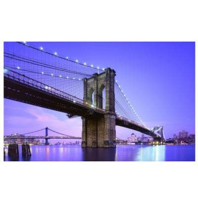 15.75 in. x 23.5 in. LED Lighted Famous New York City Brooklyn Bridge Canvas Wall Art