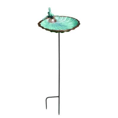 11 in. Tall Antique Brass Plated Scallop Shell Birdbath and Feeder with Stake