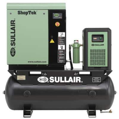 ShopTek 7.5 HP 3-Phase 208-Volt 80 gal. Stationary Electric Rotary Screw Air Compressor with Refrigerated Dryer