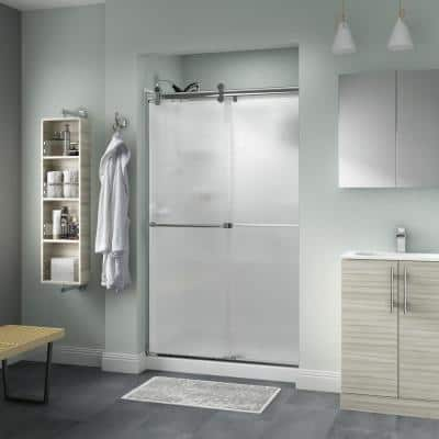 Everly 48 in. x 71 in. Contemporary Semi-Frameless Sliding Shower Door in Chrome and 1/4 in. (6mm) Rain Glass