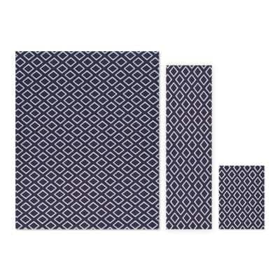Gem Stone Grey/White 5 ft. x 7 ft. 3-Piece Rug Set