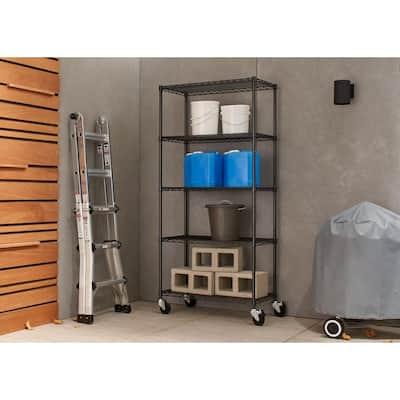 PRO Black 5-Tier Rolling Steel Wire Garage Storage Shelving Unit (36 in. W x 77 in. H x 18 in. D)