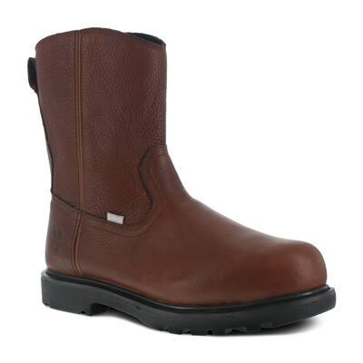 Men's Hauler 10 in. Wellington Work Boot - Comp Toe - Brown Size 8.5(M) with Flex-Met Internal Met Guard and Side Zipper