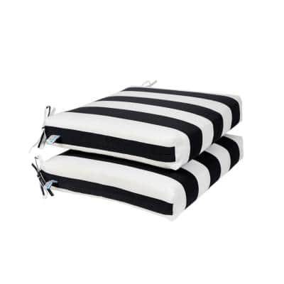 All-Weather 18.5 x 16 2-Piece Outdoor Seat Cushion Black and White Striped