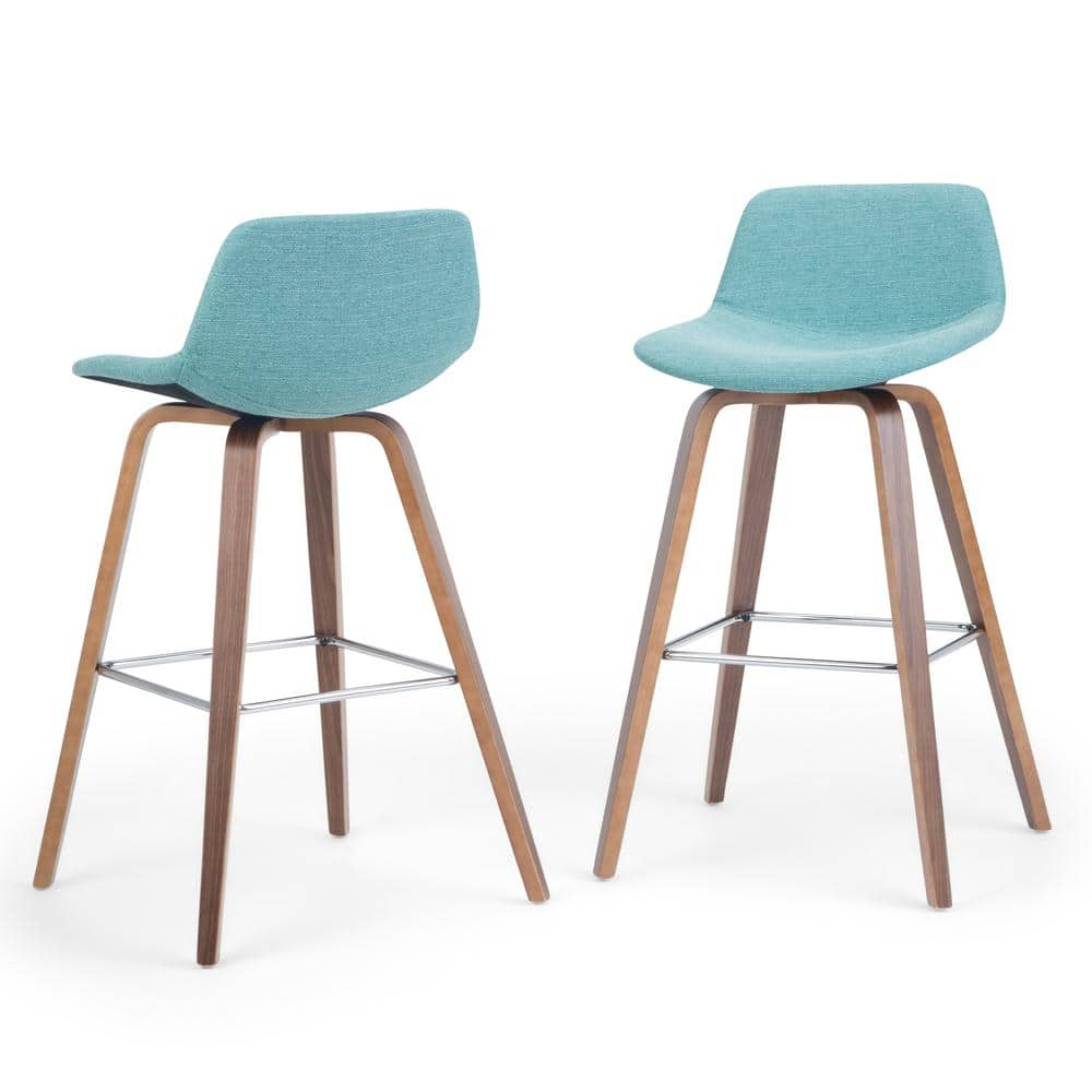 Simpli Home Randolph 36 6 In Aqua Blue Linen Look Fabric Mid Century Modern Bentwood Counter Height Stool Set Of 2 Axcran26n Aqb The Home Depot