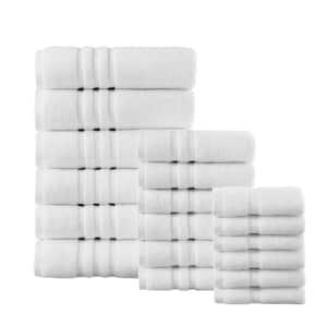 Micro Cotton 18-Piece White Bath Towel Set