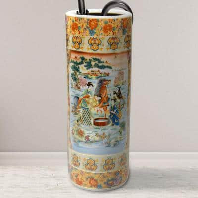 Oriental Furniture 24 in. Rose Medallion Horse in Meadow Porcelain Umbrella Stand