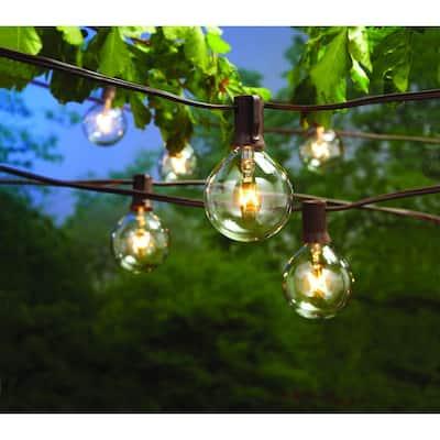 12 ft. Line Voltage 12-Light Large Cafe Clear Indoor/Outdoor String Lights (4-Pack)