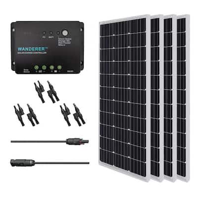 400-Watt 12-Volt Monocrystalline Solar Bundle Kit with 30 Amp Negative Ground Charge Controller