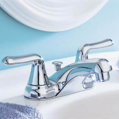 Colony Soft 4 in. Centerset 2-Handle Low-Arc Bathroom Faucet in Polished Chrome with Pop-Up Drain