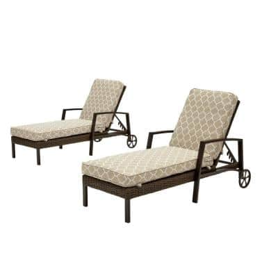 Whitfield Dark Brown Wicker Outdoor Patio Chaise Lounge with CushionGuard Toffee Trellis Tan Cushions (2-Pack)