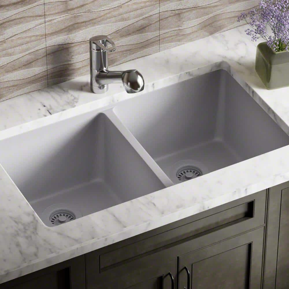 MR Direct Silver Quartz Granite 33 in. Double Bowl Undermount Kitchen Sink  with Matching Strainer and Flange-802-S-CSTFL - The Home Depot