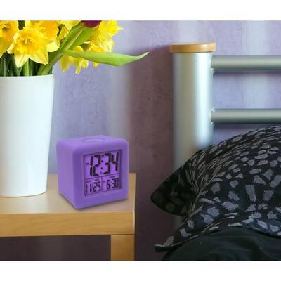 3-1/4 in. x 3-1/4 in. Soft Purple Cube LCD Digital Alarm Clock