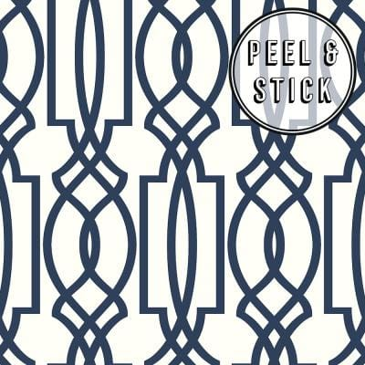 Trellis Blue/White Vinyl Peelable Roll (Covers 30.75 sq. ft.)
