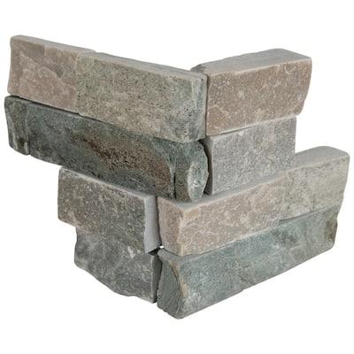 Sierra Blue Ledger Corner 6 in. x 6 in. x 6 in. Natural Quartzite Wall Tile (2 sq. ft. / case)