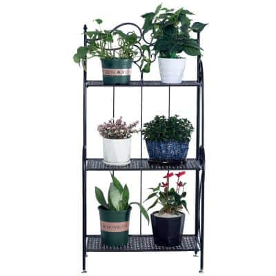 44.88 in. Tall Indoor/Outdoor Black Metal Foldable Plant Stand (3-Tier)