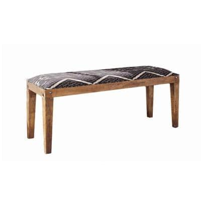 """Brown and Blue Fabric Upholstered Wooden Bench with Tapered Legs 16"""" L x 46"""" W x 18"""" H"""