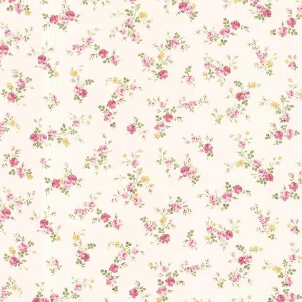 Brewster - 56.4 sq. ft. Turtledove Pink Small Rose Toss Wallpaper
