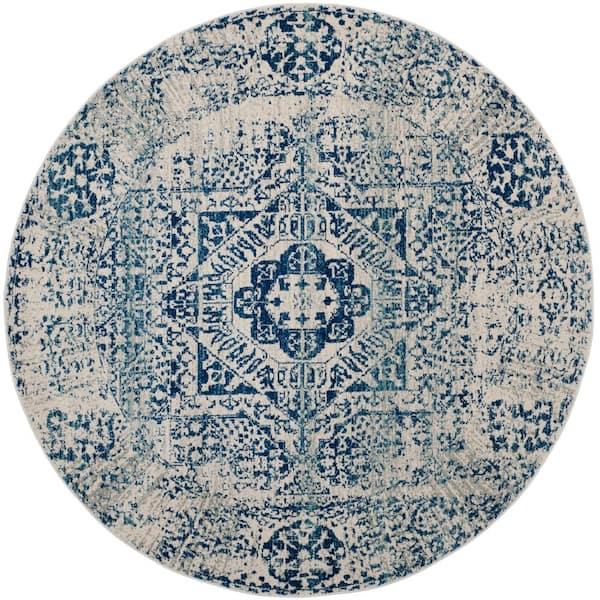 Safavieh Evoke Ivory Blue 3 Ft X 3 Ft Round Area Rug Evk260c 3r The Home Depot