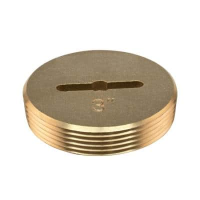 3 in. Slotted Brass Cleanout Plug 3-3/8 in OD for DWV