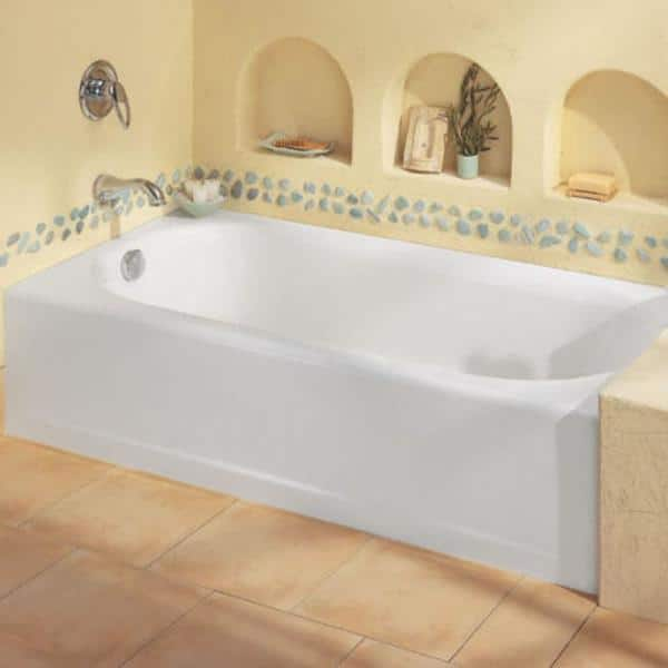 American Standard 2390202.021 Princeton 60x30-inch Apron-Front Bathtub Left Hand Drain in Bone with Deep Soak Drain in Chrome