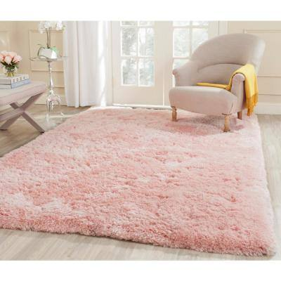 Arctic Shag Pink 5 ft. x 7 ft. Solid Area Rug