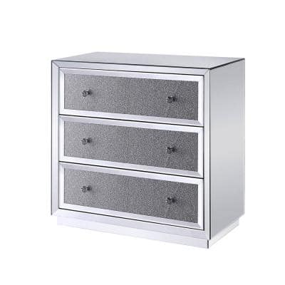 3-Drawers Wooden Clear Cabinet with Mirrored Paneling and Faux Crystal Inlay