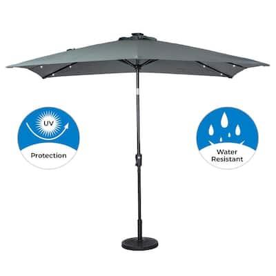 9 ft. x 7 ft. Rectangular Solar Lighted Market Patio Umbrella in Grey