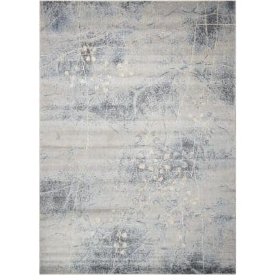 Somerset Silver/Blue 4 ft. x 6 ft. Oriental Modern Area Rug