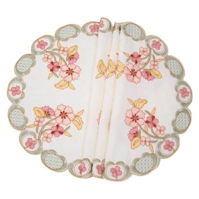Primrose 16 in. Embroidered Cutwork Round Placemats (Set of 4)