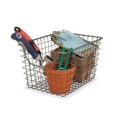 Scoop 12.75 in. D x 9.5 in. W x 8 in. H Small Industrial Gray Steel Wire Storage Bin Basket Organizer