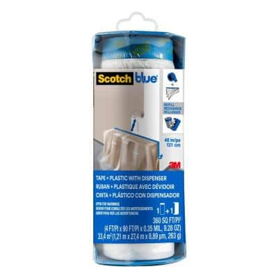 ScotchBlue 4 ft. x 90 ft. Clear Pre-Taped Painter's Plastic Sheet with Edge Lock and Dispenser (Case of 6)