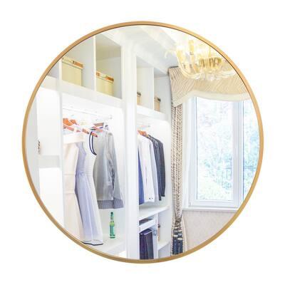 Vandijk 32 in. W x 32 in. H Metal Framed Round Bathroom Vanity Mirror in Gold