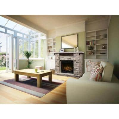 Featherston 64 in. Freestanding Mantel with 28 in. Electric Fireplace with Logs in Grey