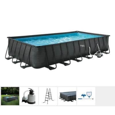 Black Basketweave 24 ft. x 12 ft. Rectangle 52 in. D Elite Metal Frame Pool Package with Sand Filter Pump