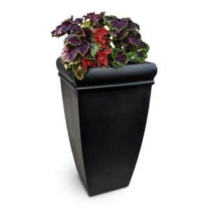 Chelsey 28 in. Tall Black Resin Planter