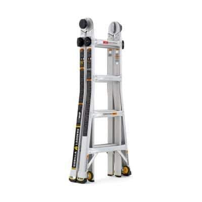 18 ft. Reach MPXW Aluminum Multi-Position Ladder with Wheels, 375 lb. Load Capacity Type IAA Duty Rating