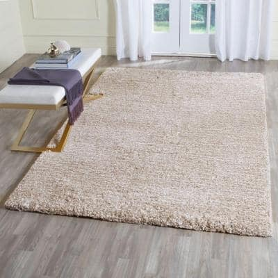 Ultimate Shag Sand/Ivory 8 ft. x 10 ft. Solid Area Rug