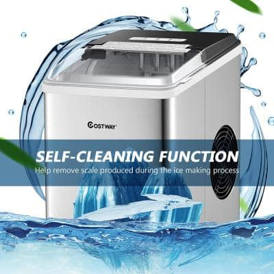 9 in. W 26 lbs./24-Hour Portable Ice Maker in Silver Self-Clean with Scoop