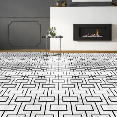 Retro 12 in. W x 12 in. L Affinity Black Marble Water Resistant Peel and Stick Vinyl Tile Flooring (20 sq. ft./case)