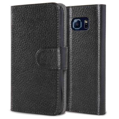 Leatherbook Wallet Case for Samsung Galaxy S6, Black