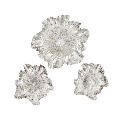 New Traditional Distressed Silver Floral Wall Decors (Set of 3)