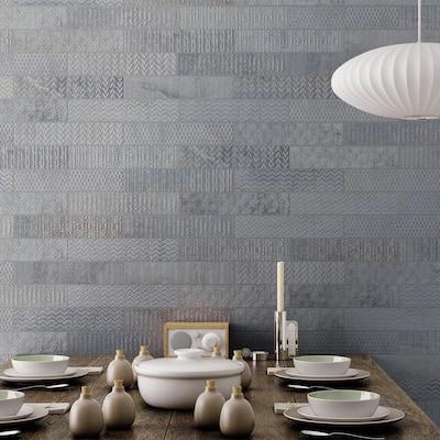Brickbold Grey 3 in. x 13 in. Glazed Porcelain Decorative Wall Tile (13.35 sq. ft. / case)